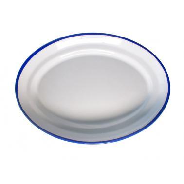 Емайлирано плато овално  36см синьо/бяло RETRO-(96/36 1+1+2) - Horecano