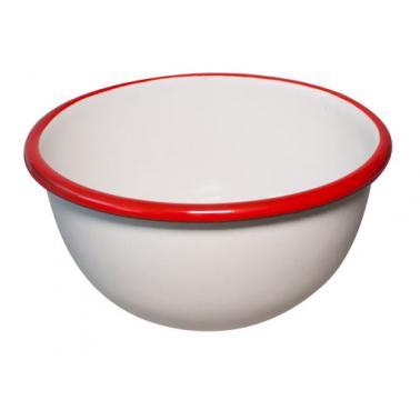 Емайлирана купа  ф22см  крем/червено RETRO-(69/22 105+105) - Horecano