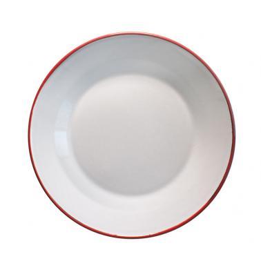Емайлирана чиния плитка ф22мл крем/червено RETRO-(99J/22 105+105) - Horecano