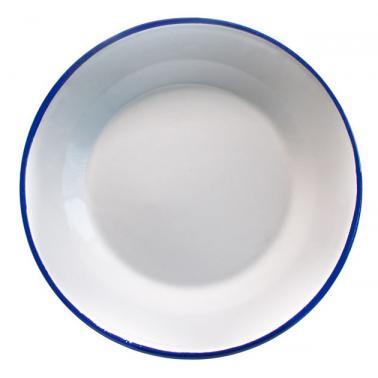 Емайлирана чиния  плитка ф22см синьо/бяло RETRO-(99J/22 1+1+2) - Horecano
