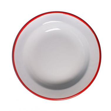 Емайлирана чиния дълбока ф22см  крем/червено RETRO-(99/22 105+105) - Horecano