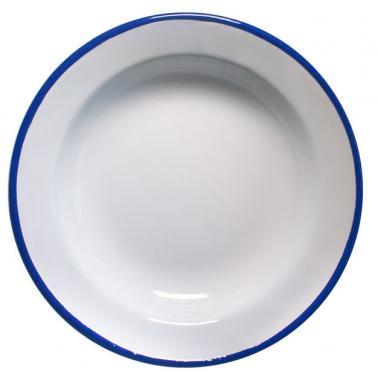 Емайлирана чиния дълбока ф22см синьо/бяло RETRO-(99/22 1+1+2) - Horecano