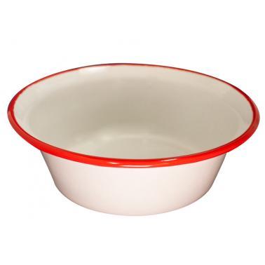 Емайлирана купа  конус ф16см  крем/червено RETRO-(101C/16 105+105) - Horecano