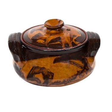 Гювече от троянкса керамика 600мл  кафяв /КК - Horecano