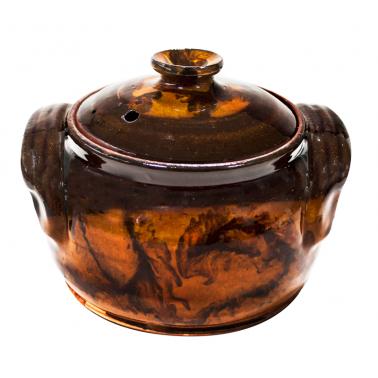 Гювече от троянкса керамика  800мл  кафяво  /КК - Horecano