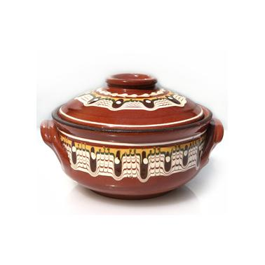 Керамично гювече с дръжки и троянска  шарка  650гр - Horecano
