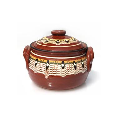 Керамично гювече   с дръжки  и троянска шарка 550гр - Horecano