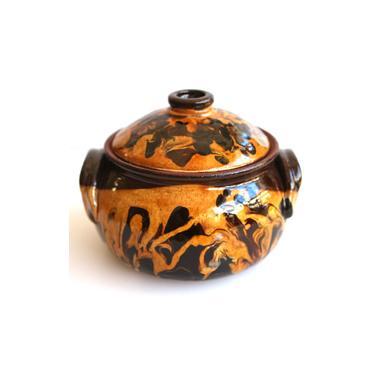 Гювече от троянка керамика  с дръжки 550гр шарено - Horecano