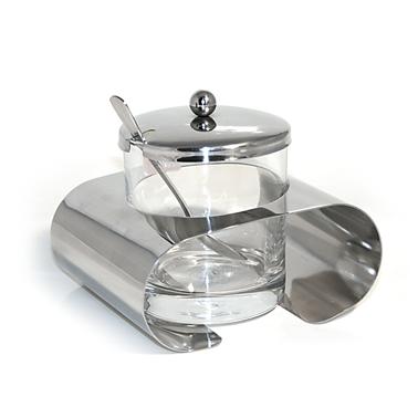 Стъклена захарница - хром (KSP-0061)(FTC150) - Horecano