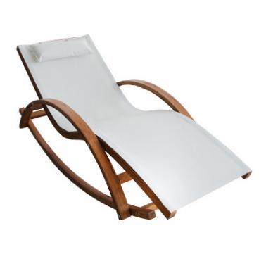 Дървен шезлонг с подлакътник  текстилен 183x72x105cm КРЕМ (ODF512) - Horecano