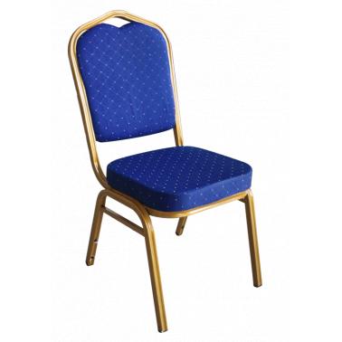 Метален стол за кетъринг  със синя седалка (A 04B)(45x51x93см) - Horecano