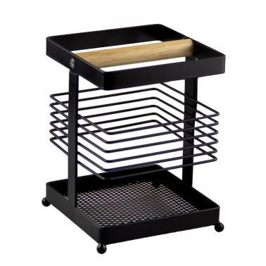 Поставка за прибори с дървен разделител черен мат 11x11xh15.5смG-MATT BLACK-(23169-001) - Horecano