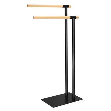 Метална стойка за хавлии с бамбукови рамена черен мат (основа - 30х20см / рамена - 39,5хh71/80см) G-(82754-001) - Horecano