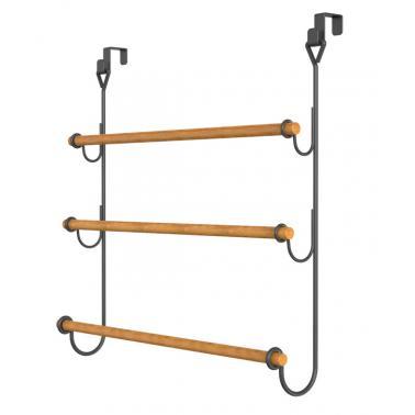 Закачалка за хавлии за окачване на врата метал/бамбук 32x18.8x62см черен матG-(82759-001) - Horecano