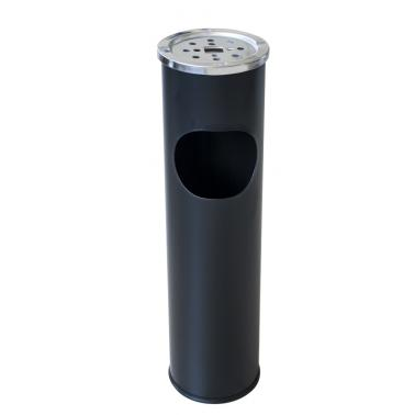 Метален екстериорен пепелник 15x15x54cм. 8л. черен G-(11723-001-B) - Horecano