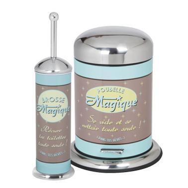 Иноксов комплект за тоалетна с декор от 2 части (кош с педал 5л+четка WC) G-(94694-001B) - Horecano
