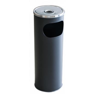 Метален екстериорен пепелник  20,5x20,5x58cм., 12л. черен  G-(11251-002-B) - Horecano