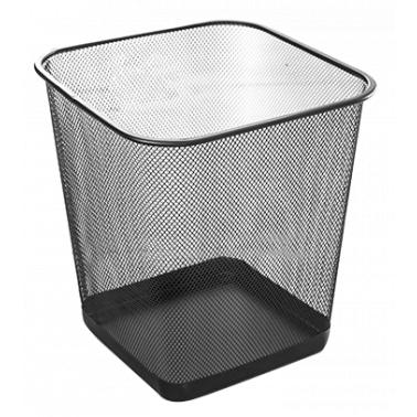 Метален кош, канцеларски, квадратен черен 26x26x30cм. 20л. G-(92546-001-B) - Horecano