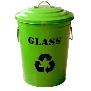 Метален кош с капак  25x31,5x47cм., 24,5л. зелен G-(11765-001-G) - Horecano