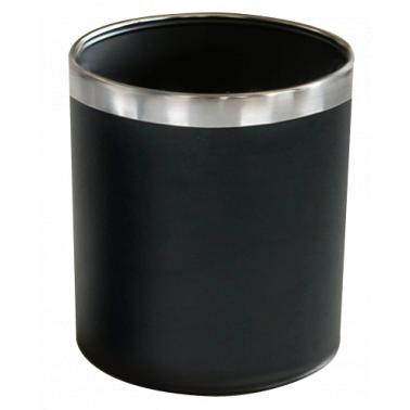 Метален кош, канцеларски, черен с иноксов ринг 22,5x22,5x25,5cм. G-(92420-001) - Horecano