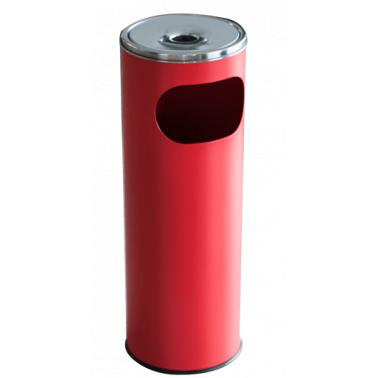 Метален екстериорен пепелник 20,5x20,5x58cм., 12л. червен G-(11251-002-R) - Horecano