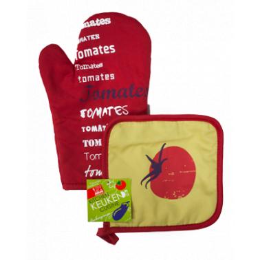 Текстилна ръкавица с ръкохватка комплект червени (31028R) - Horecano