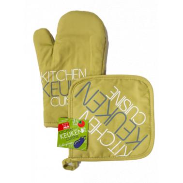 Текстилна ръкавица с ръкохватка  комплект зелени (31028G) - Horecano