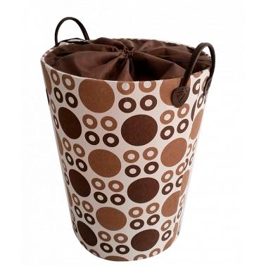 Текстилен кош за дрехи кръг бежово/кафяв - полиестер HD-(P1SM070С) - Horecano