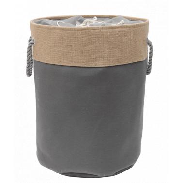 Текстилен кош за дрехи кръг 40x50 см сив HD-(7SM109-B) - Horecano