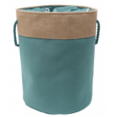 Текстилен кош за дрехи кръг 40x50см зелено/бежово HD-(7SM109-D) - Horecano
