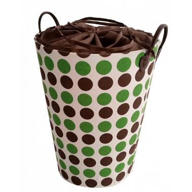 Текстилен кош за дрехи кръг кафяво/зелено - полиестер HD-(P1SM070E) - Horecano