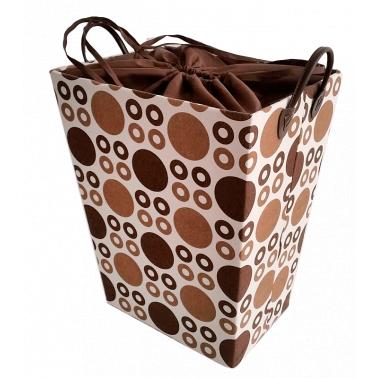 Текстилен кош за дрехи правоъгълен бежово/кафяво - полиестер HD-(P1SM026С) - Horecano