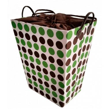 Текстилен кош за дрехи правоъгълен кафяво/зелено - полиестер HD-(P1SM026E) - Horecano