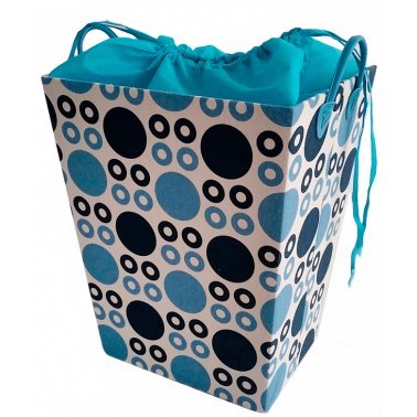 Текстилен кош за дрехи правоъгълен синьо/тъмносиньо - полиестер HD-(P1SM026D) - Horecano