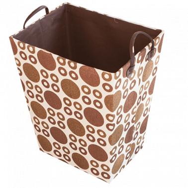 Текстилен кош за дрехи правоъгълен бежово/кафяво HD-(3SM026С) - Horecano