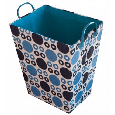 Текстилен кош за дрехи правоъгълен синьо/тъмносиньо HD-(3SM026D) - Horecano