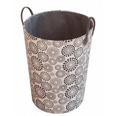 Текстилен кош за дрехи кръг HD-(3SM070A) черно/сиво - Horecano