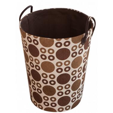 Текстилен кош за дрехи кръг HD-(3SM070С) бежово/кафяво - Horecano