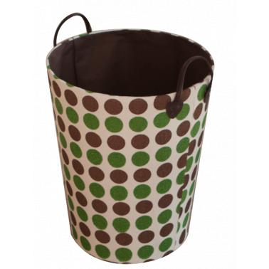 Текстилен кош за дрехи кръг HD-(3SM070E) кафяво/зелено - Horecano