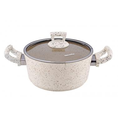 Алуминиева дълбока тенджера с незалепващо покритие  кремава 20x10см 3л HR-GRANITE (ETTCKK0320001)   - Hascevher