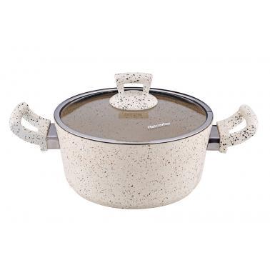 Алуминиева дълбока тенджера с незалепващо покритие  кремава   26х11см 5.8л HR-GRANITE (ETTCKK0626002)   - Hascevher