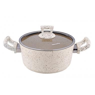 Алуминиева дълбока  тенджера с незалепващо покритие кремава 22х10,5см  4л HR-GRANITE  (ETTCKK0422001)   - Hascevher