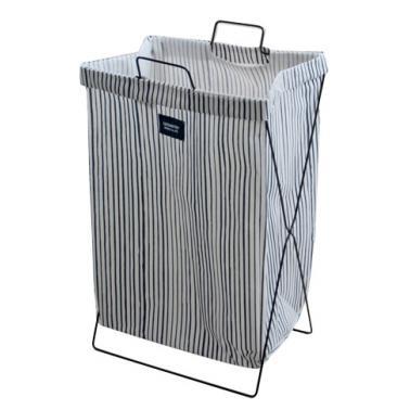 Кош за дрехи с метална рамка 35х26х59см синьо/бяло с райе №931081- Horecano