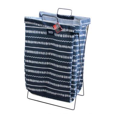 Кош за дрехи с метална рамка 35х26х59см син с бели точки №931082- Horecano