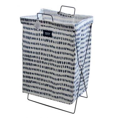 Кош за дрехи с метална рамка 35х26х59см бял със сини точки№931083- Horecano
