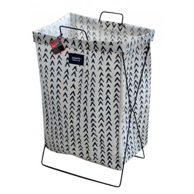 Кош за дрехи с метална рамка 35х26х59см бяло/синьо с декор №931085 - Horecano
