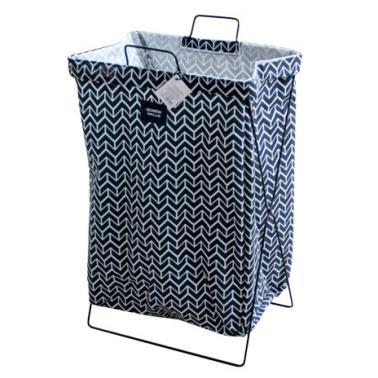 Кош за дрехи с метална рамка 35х26х59см синьо/бяло с декор №931086- Horecano