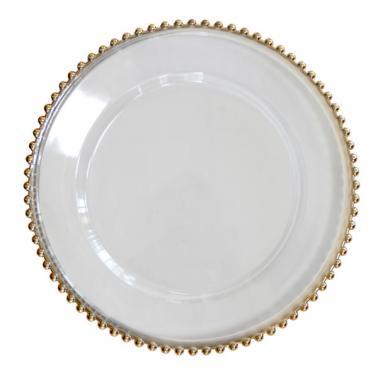 Полипропиленова подложна чиния със златен кант ф32см прозрачна HORECANO-WICKED-(HC-931107)