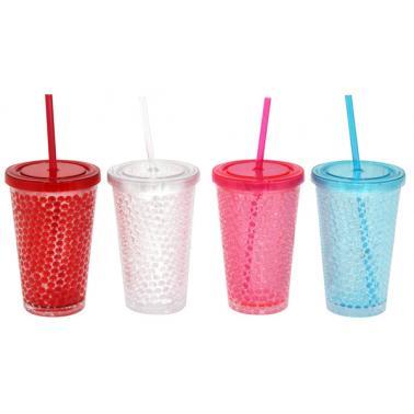 Акрилна чаша със сламка 500мл  ДЕКОР 1 CN-(C051) - Horecano