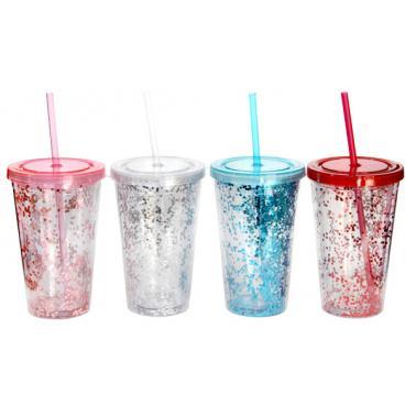 Акрилна чаша със сламка 500мл ДЕКОР 3 CN-(0193682) - Horecano